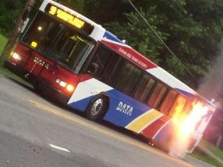 A witness captured this image of a fire on a DATA bus that happened early Monday