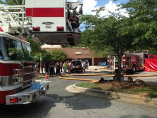 Authorities in Cary are responding to a hazardous materials call at Parkway Point Shopping Center, where a lye solution was leaking from a truck parked near the Town and Country hardware store.