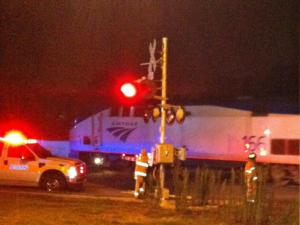 An Amtrak train was stopped on the tracks in Raleigh Friday night, July 12, 2013.