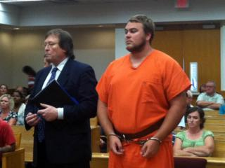 Stephen Gomola appears in a Carteret County courtroom on July 16, 2013, on an involuntary manslaughter charge in connection with the death of a Dunn man.