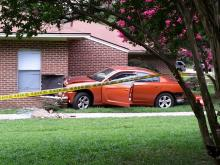 A car plowed into an apartment on Poole Road in Raleigh Tuesday afternoon.