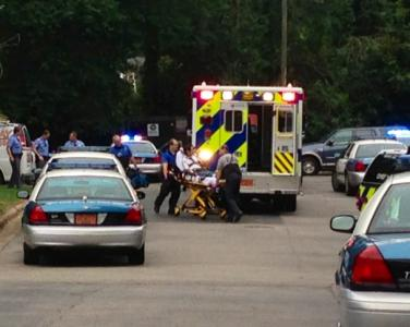 A man was taken to a hospital Wednesday in Raleigh after throwing rocks.