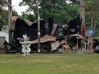 Fire completely destroyed a home east of Angier early Saturday, Johnston County authorities said.