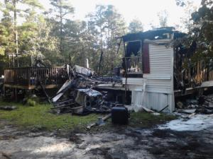 Fire burned a Vass home to the ground early Sunday during a three-hour outage of Moore County's 911 system. Photo courtesy Patrick Brock