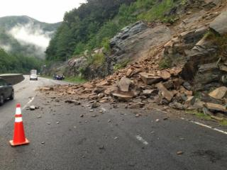 The right lane of westbound Interstate 40 is closed near milemarker 7 in Haywood County after rocks slid onto the travel lane Monday evening. (Photo courtest NC DOT)