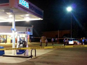 A man was shot in the leg Wednesday night during a fight outside a gas station convenience store in Raleigh, police said.