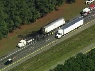 A tractor-trailer caught fire on Interstate 95 South on Thursday morning, Sept. 13, 2013, north of Rocky Mount, troopers said.