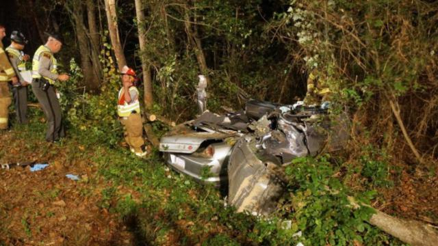A 22-year-old Moore County man died Friday night after crashing his car on Red Hill Road outside of Cameron, state Highway Patrol officials said. (Photo by Frank Staples)