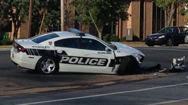 A Durham police cruiser collided with a car at the intersection of Shannon Road and University Drive on Oct. 6, 2013.