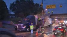 IMAGES: Truck hits bridge on Peace Street in Raleigh