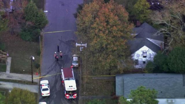 SKY5 shows an aerial view of 412 Dupree St. in Durham, where a man was found dead in a house fire Friday, Nov. 8, 2013.