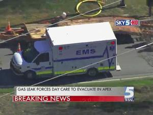 Gas leaking from a 4-inch gas line in Apex on Nov. 18, 2013, forced authorities to evacuate a nearby day care center.