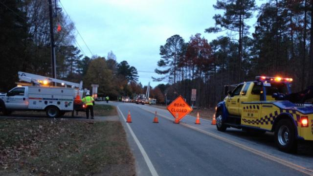 Leesville Road between Dominion Boulevard and St. Francis Drive was closed after a car knocked out a utility pole early Nov. 26, 2013.