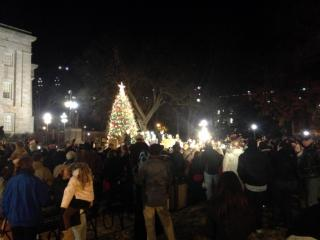 Hundreds of people gathered outside the State Capitol on Dec. 12, 2013, to see the lighting of the Capitol Christmas tree.