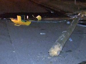 Durham police shut down South Miami Boulevard from Guardian Drive to East Cornwalis Road early Thursday after a car crashed into a power pole.