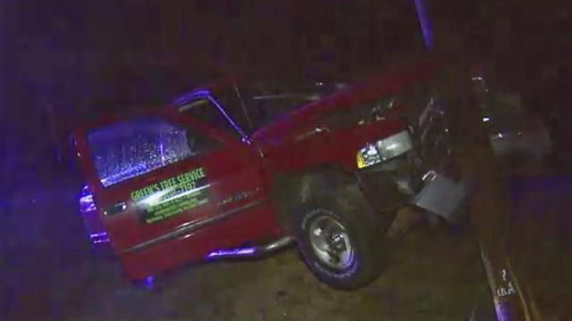A man and a women were sent to the hospital early Monday after their truck ran off the rain-slick road about a half mile outside Rolesville. (Jamie Munden / WRAL)