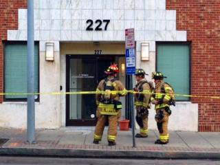A building at 227 S. Salisbury St. in downtown Raleigh was evacuated on Dec. 30, 2013, after firefighters responded to a report of a natural gas leak. (Amanda Lamb/WRAL)