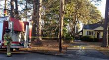 IMAGES: Downed power line sparks fire at Raleigh home