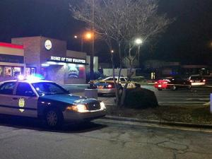 One person was shot at the Burger King on Glenwood Ave. near Pleasant Valley Rd. on Jan. 4, 2014.
