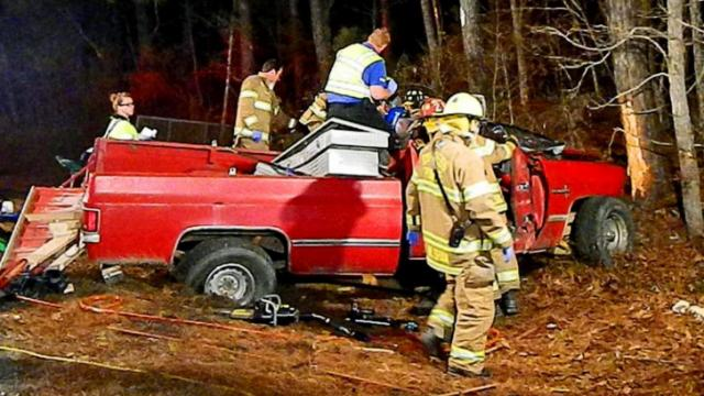 Emergency crews freed a motorist pinned in a pickup truck after the vehicle hit a tree in Vass on Jan. 4, 2014. (The Aberdeen Times)