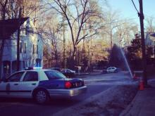 A water main break was reported at the intersection of White Oak Road and Alexander Road near the Five Points area on Jan. 7, 2014. (Submitted by Leigh Fox Burke)