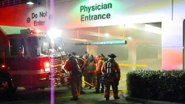 A fire pump at FirstHealth Hospital in Pinehurst was on fire on Jan. 7, 2014. (The Aberdeen Times)