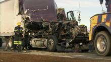 IMAGES: Trucker charged in Johnston school bus collision