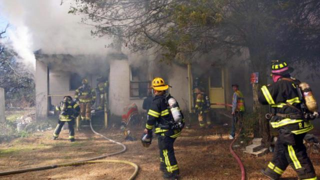 A woman was found dead during a house fire on Union Church Road in Vass Saturday morning. (Submitted by Frank Staples)