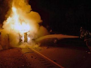 Two people were killed late Wednesday in a fiery wreck on U.S. Highway 1 just north of Southern Pines, officials said. (Photo by Frank Staples)