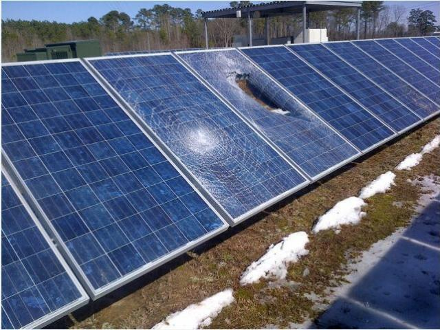 Solar panels in a farm owned by Capitol Broadcasting Company, parent company of WRAL-TV and WRAL.com, were damaged Friday as ice melted and fell in chunks from the television tower.