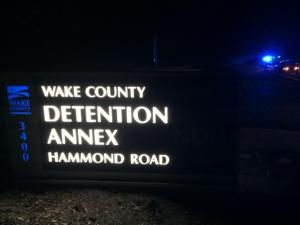 Authorities were searching for a suspect who escaped custody Tuesday night in the area of Hammond Road and Chapanoke Road. (WRAL/Andrew Cumbee)