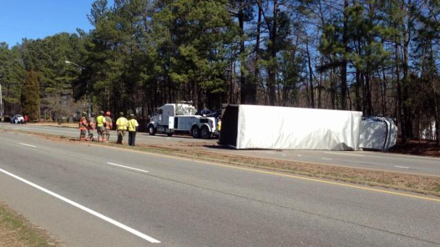 A crash involving a tractor-trailer and three vehicles closed the northbound lanes of N.C. Highway 55 in Durham on Feb. 24, 2014.