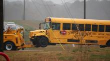 IMAGES: Students, drivers injured in school bus wreck near Johnston County school