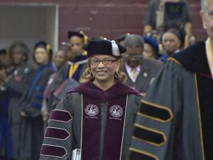 More than a year after she was selected as North Carolina Central University's first female chancellor, Debra Saunders-White was officially installed Friday morning in a ceremony on the Durham campus.