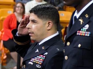 Army Second Lt. John Arroyo is commissioned during Campbel University's May 2013 graduation ceremony. (Photo by Bennett Scarborough)