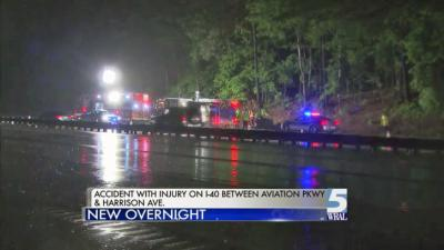 A man was critically injured early Friday after he lost control of his car and hit a state Department of Transportation vehicle on Interstate 40 near Aviation Parkway.