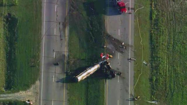 Authorities closed all lanes of N.C. Highway 87 near Hope Mills early Tuesday due to an overturned tractor-trailer.