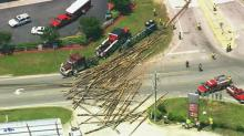 IMAGE: Log spill closes road in Johnston County