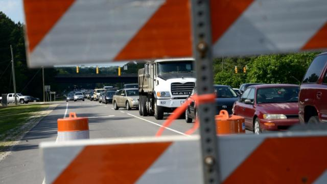 Traffic on Gorman Street approaching Tryon Road in Raleigh was backed up Thursday afternoon due to a gas leak that closed Tryon between Gorman and Lake Dam Road. (Adam Owens/WRAL)