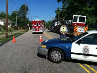 Police evacuated the area of Haywood and Martin streets in Raleigh on May 23, 2014, because of a natural gas leak.