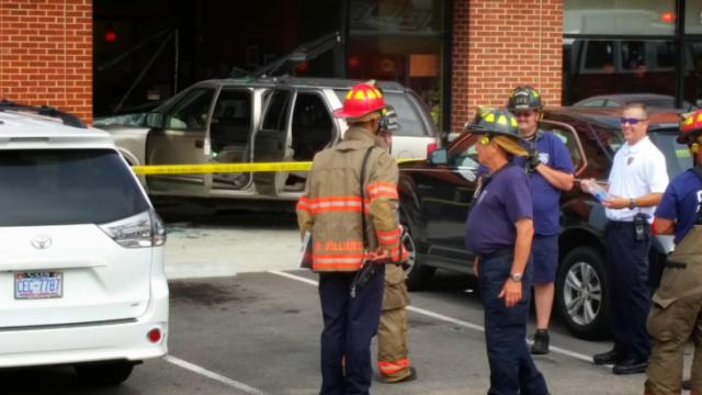 An SUV ran into the Denny's at 7021 N. C. Highway 751 Friday, May 30, 2014. (Submitted)