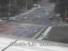 A traffic camera shows the closure of Lake Boone Trail at Interstate 440 in Raleigh.