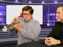 Talented student shows off his music skills