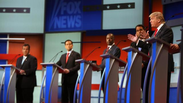 Republican presidential candidate Donald Trump speaks as  from left, Chris Christie, Marco Rubio, Ben Carson, Scott Walker listen during the first Republican presidential debate at the Quicken Loans Arena Thursday, Aug. 6, 2015, in Cleveland. (AP Photo/Andrew Harnik)