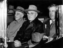 Harry Truman, center, became Vice President in 1945 when Franklin Roosevelt was already dying of congestive heart failure. (Deseret Photo)