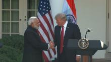IMAGES: Trump and Modi reaffirm Indian-US relations with a hug