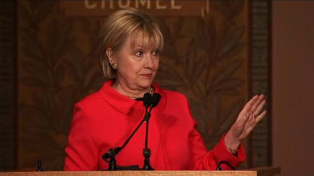Hillary Clinton again waded into politics Friday, months after losing the 2016 election, by slamming President Donald Trump's proposed budget blueprint at Georgetown University.