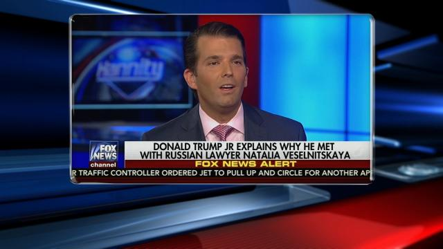 Donald Trump Jr. appears on a Fox News interview on July 11, 2017.