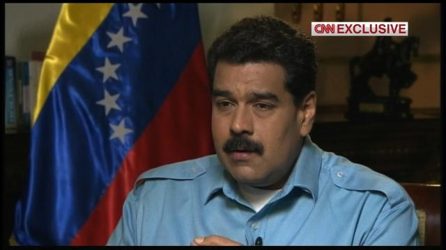 """US President Donald Trump described Venezuelan President Nicolas Maduro as a """"bad leader"""" and an aspiring """"dictator"""" on Monday, July 17, 2017. Pictured is Maduro talking to CNN's Christiane Amanpour on March 6, 2014 about his government's response to opposition protesters."""