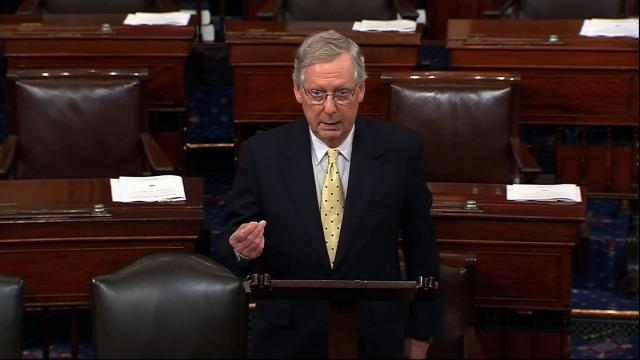 Senate Majority Leader Mitch McConnell vowed to continue his party's efforts to pass health care legislation, this time with a plan to repeal Obamacare now and replace it later, while on the Senate floor Tuesday, July 18, 2017.